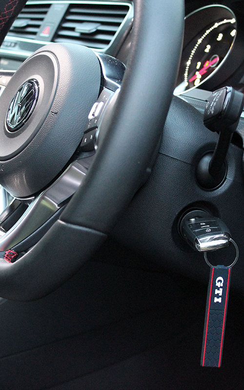 GTI silicone keyring in a mk6 Golf GTI ignition